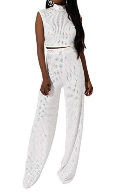 AKIRA Mirrored Shiny Studded High Waist Wide Leg Stretch Trouser Pant