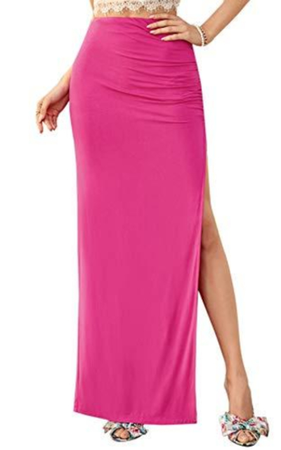 SheIn  Ruched Split Thigh High Waist Maxi Skirt