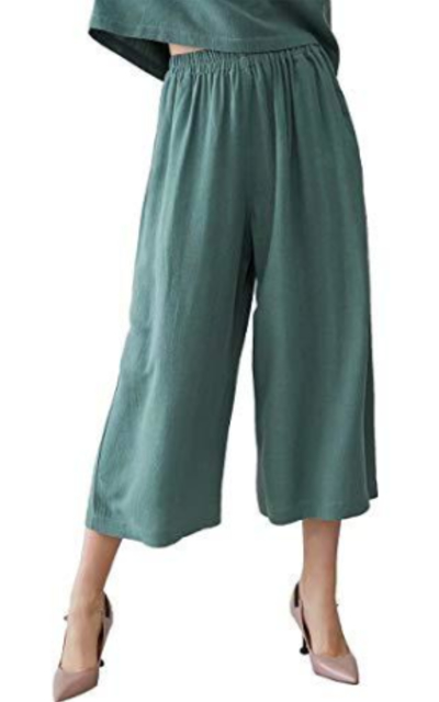 MEOMUA Linen Cotton Cropped Wide Leg Pants