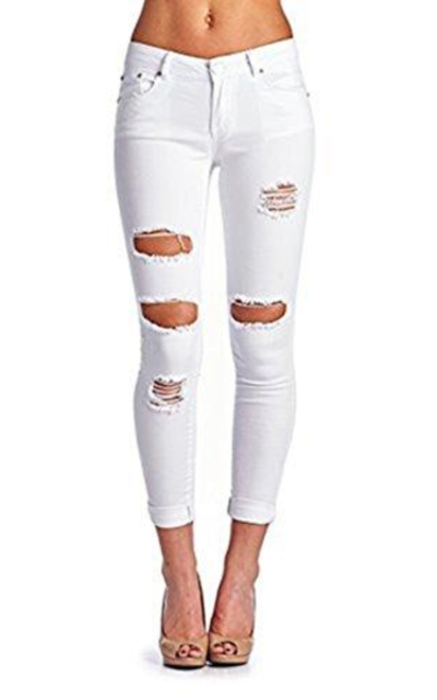 High Waisted Butt Lift Stretch Ripped Skinny Jeans