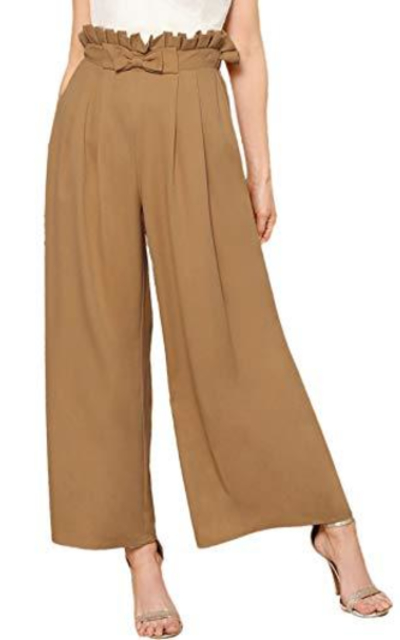 Verdusa High Waist Button Fly Wide Leg Pants