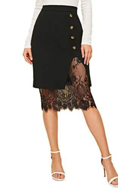 Verdusa Eyelash Lace Trim Button Front Bodycon Midi Skirt