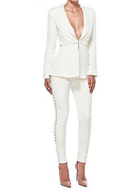 whoinshop Office Jacket and Pants Lady Blazer Suit Set