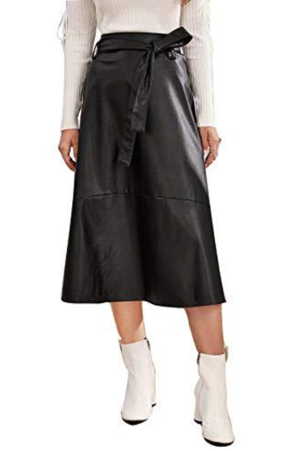 WDIRARA High Waist Swing A-Line PU Leather Maxi Skirt with Belt