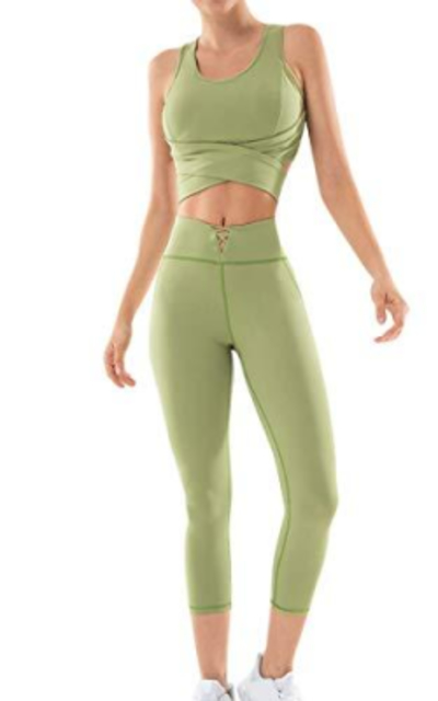 Workout Outfit 2 Pieces Seamless Leggings and Sports Bra Set