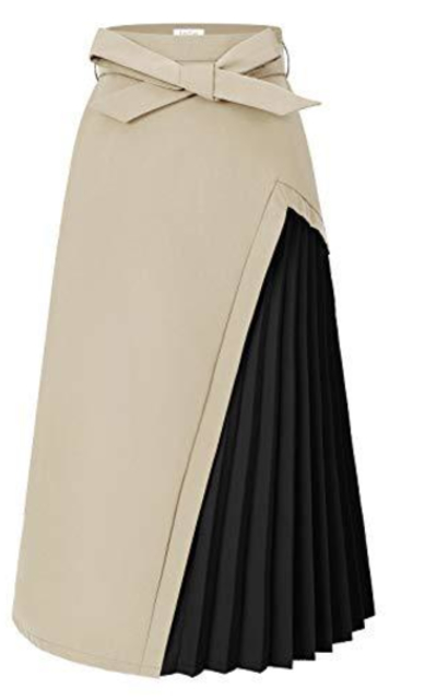 ForeFair A-Line Belted  Midi Skirt with Pockets