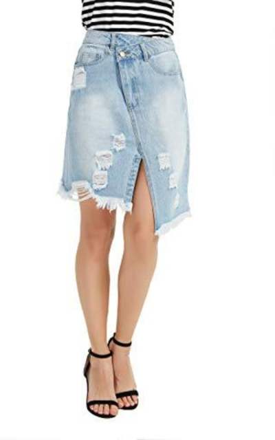 Tronjori Denim Assymetric Skirt
