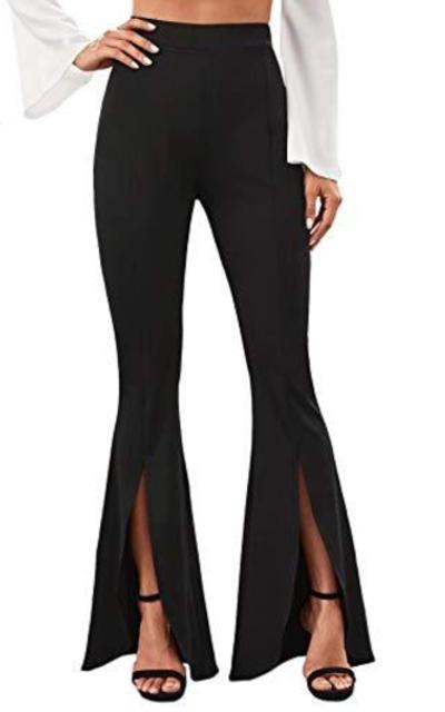 WDIRARA Flare Leg Split Hem Long Pants