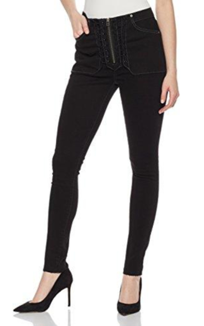 HALE Bonnie High Rise Skinny Jean with Zipper Lace up Fly