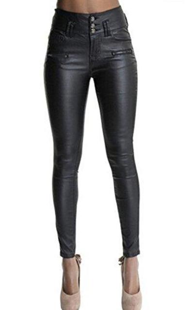 Ecupper Black Faux Leather Pants