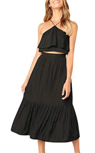 BerryGo 2 Pieces Halter Ruffle Dress Crop Top Maxi Skirt Set