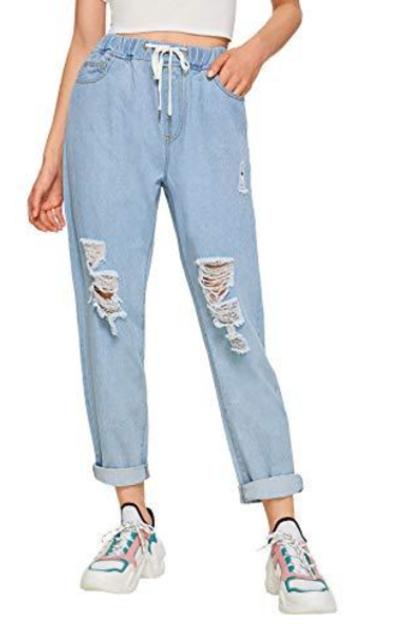 Milumia Denim Pants with Pocket Elastic Waist