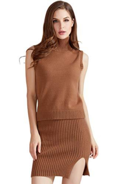 QUALFORT 2 Pieces Sweater Sleeveless Pullover and Skirt Set