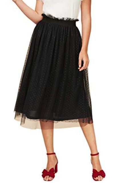 WDIRARA Ruffle Elastic Waist Polka Dot Mesh Skirt