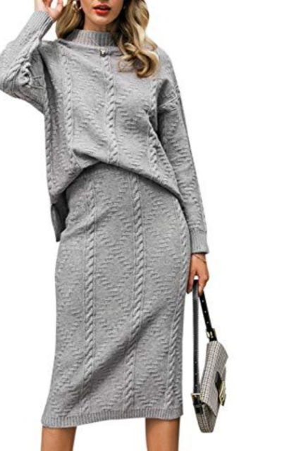 MsLure Two Piece Knit Sweater Dress