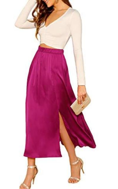 SheIn  High Waist Flowy Side Split Maxi Skirt