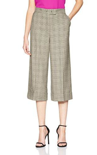 Anne Klein Houndstooth Plaid Cuffed Trouser