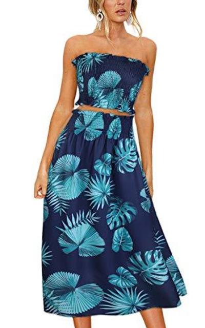 ULTRANICE Floral Print Top Maxi Skirt Set 2 Piece Outfit