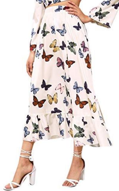 SheIn Butterfly Print Ruffle Hem Long Skirt