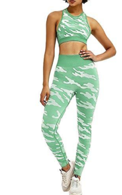 TAKIYA 2 Piece Mesh Yoga Workout Outfit