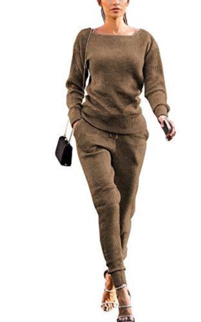 Rib-Knit Pullover Sweater  + Pants Set
