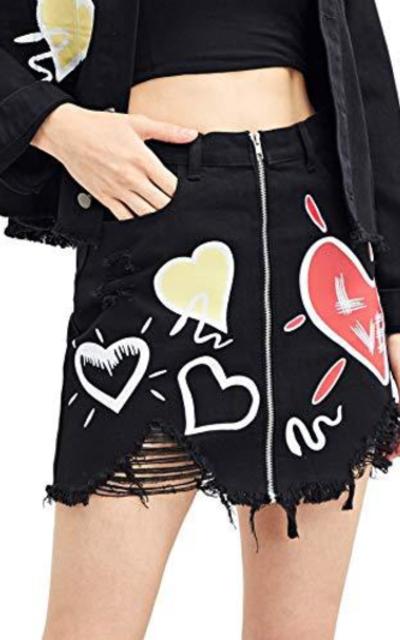 WDIRARA Heart Print Denim Skirt