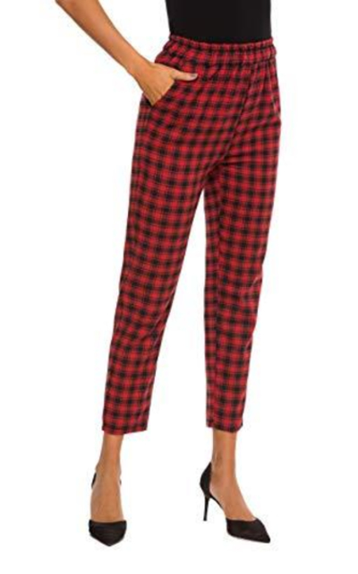 HUILAN Plaid Casual High Waist Pants