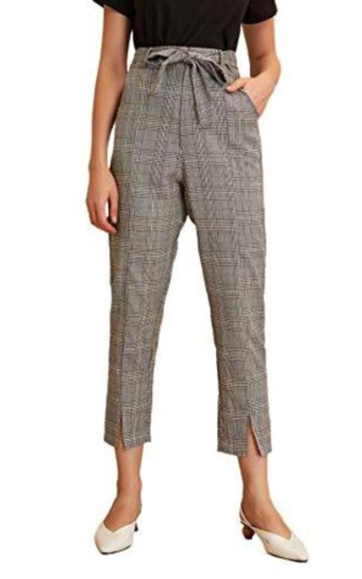 WDIRARA Plaid Print Split Hem Cropped Pants