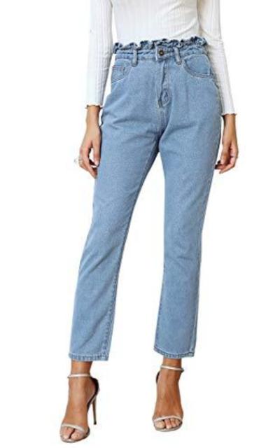 BerryGo Ruffle High Waist Jeans