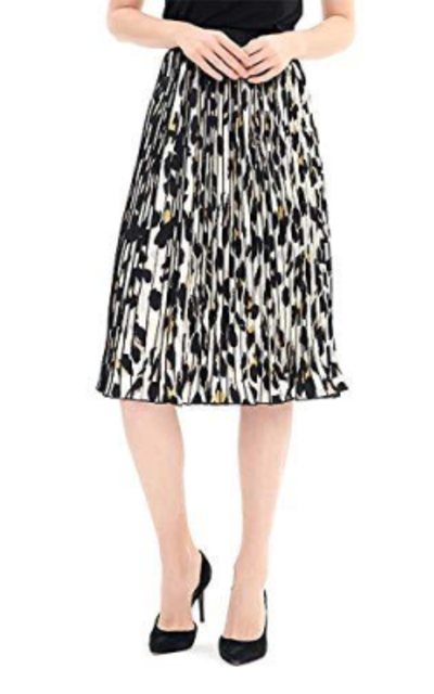Charis Allure Leopard A-Line Pleated Midi Skirt