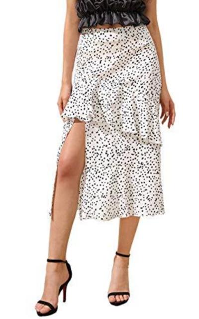 Romwe Polka Dots Ruffle Midi Skirt