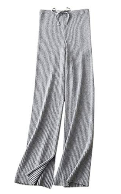SANGTREE Solid Plain High Waist Drawstring Knit Lounge Pants
