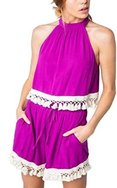 Magenta Tassled Halter Top & Shorts Two Piece Set
