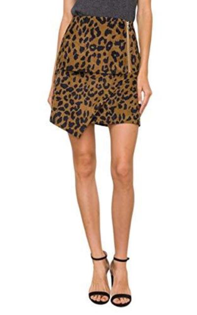 Leopard Print Asymmetrica Skirt