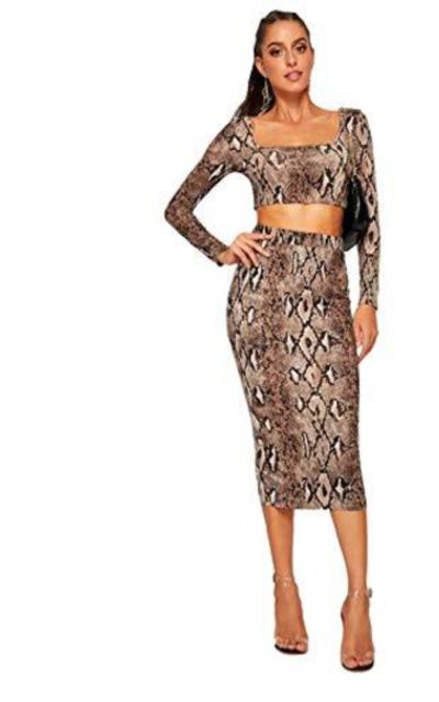 MAKEMECHIC Snakeskin Long Sleeve Crop Top Bodycon Midi Skirt 2 Piece Set