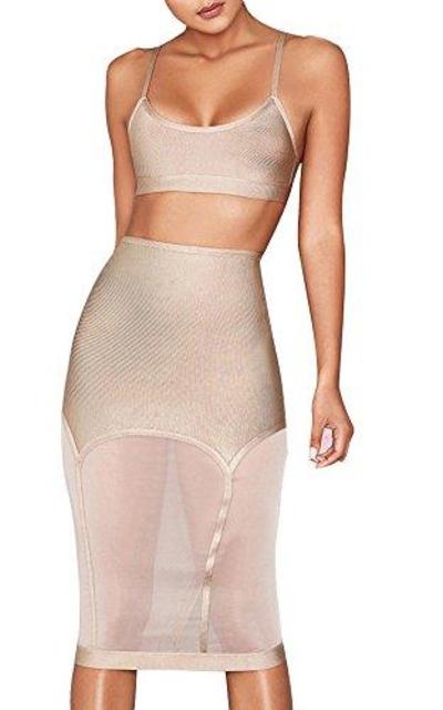 UONBOX Crop Top 2 Pieces Midi Mesh Skirt Set