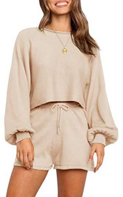 ZESICA Knit Pullover Sweatsuit 2 Piece Short Sweater Set