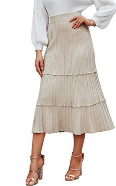 Sollinarry Knit Layered Ruffle Skirt
