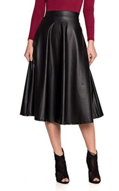 J2 Love Faux Leather Flare Skirt