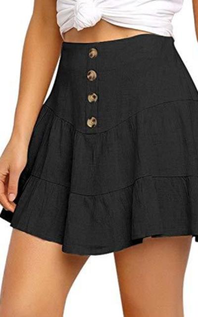 luvamia Mid Waist Button Front Mini Skirt