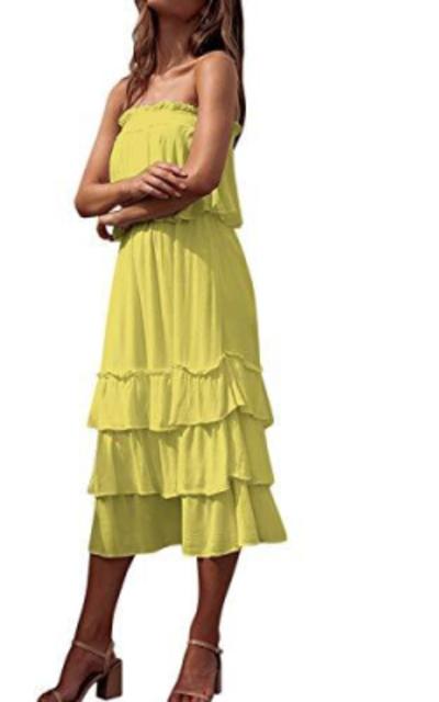 MOOSLOVER Bandeau Crop Top Maxi Skirt Set Two Piece Outfit