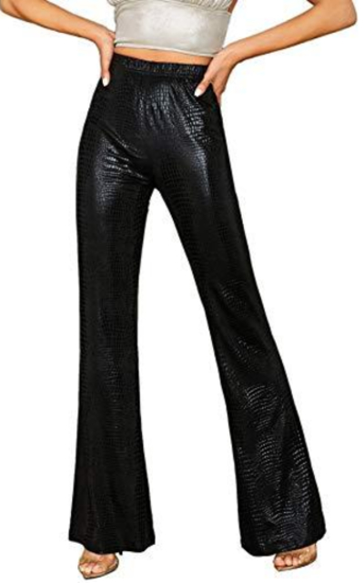 WDIRARA Solid Crocodile Leather Elastic Waist Flare Leg Pants