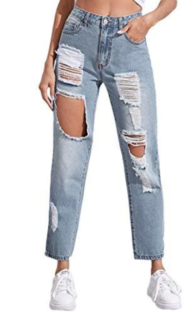SweatyRocks Ripped Boyfriend Jeans