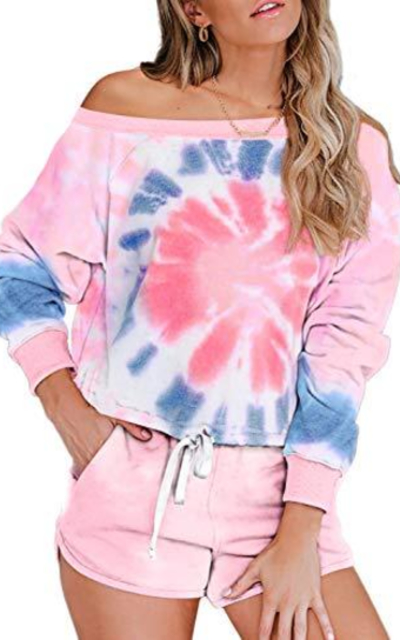 Asvivid Womens Tie Dye Printed Tee Shirt and Shorts Set