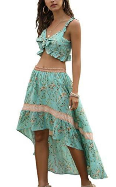 Ruffle Crop Top Floral High Low Hem Skirt Set
