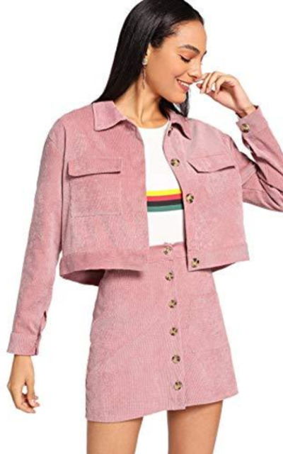 MAKEMECHIC Corduroy Crop Jacket with Button Front Short Skirt Set