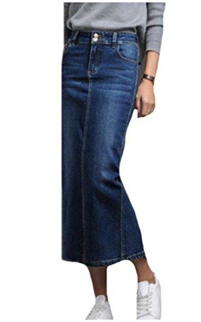 Sexybaby Split Accept Waist Washed Denim Maxi Skirt
