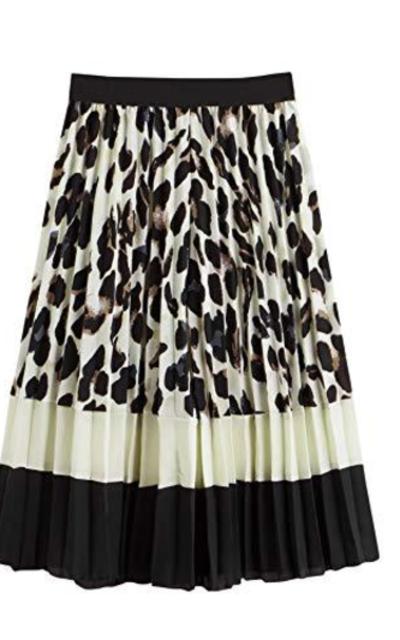 Floerns Color Block Leopard Print Pleated A Line Midi Skirt