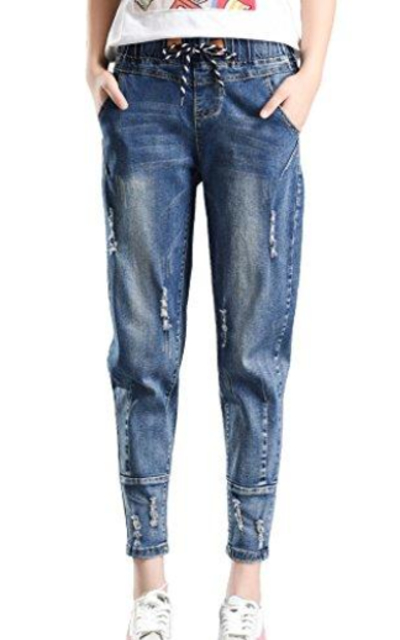 PHOENISING Distressed Drawstring Jeans