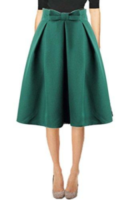 Hanlolo Bow High Waist Full Circle Skirt